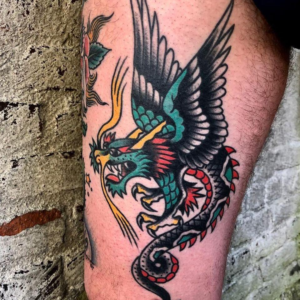 Dragon tattoo by Eli Quinters #EliQuinters #dragontattoos #dragontattoo #dragon #mythicalcreature #myth #legend #magic #fable