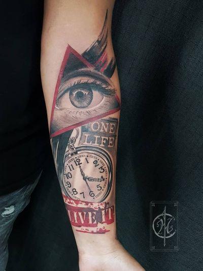 #trashpolka #trashpolkatattoo #tat #tattooartist #abstracttattoo #realistictattoo #realistictattoos #eye #eyetattoo #watchtattoo