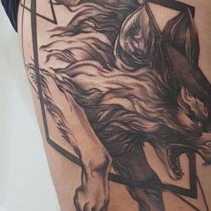 Jumping Geometric Illustrative Wolf Thigh Tattoo