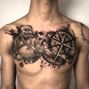 Chest tattoo by Cloto Acherontia #ClotoAcherontia #tattooartist #besttattoos #awesometattoos #tattoosformen #tattoosforwomen #tattooidea #neotraditional #blackandgrey #chesttattoo #buddha #compass