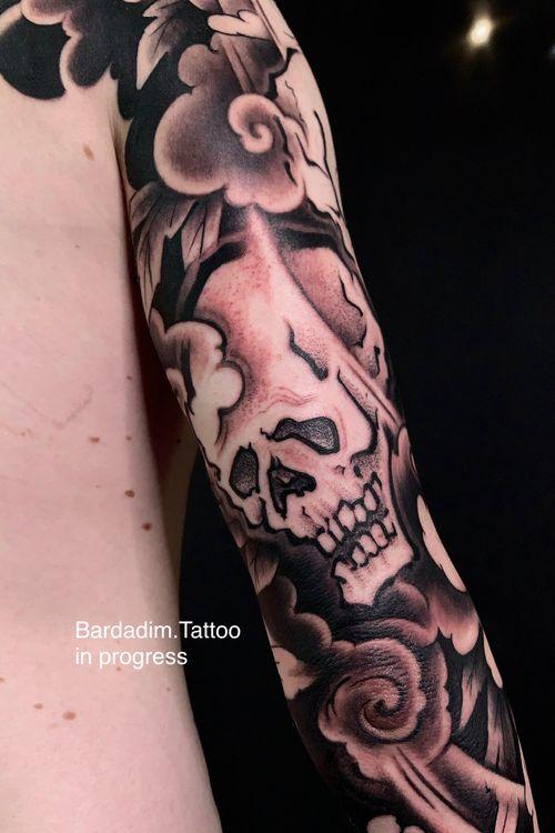 Japanese tattoo Brooklyn. Japanese sleeve. Skull Japanese tattoo.