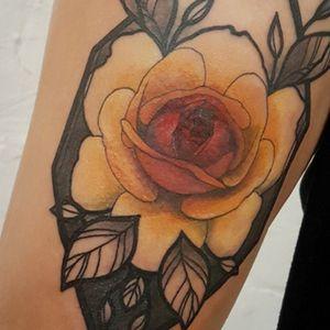 Bold Geometric Rose Thigh Tattoo