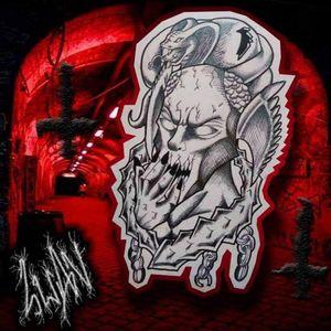Disponível para tatuar #dotwork #demon #demonio #snake #cobra #chain #shadow #corrente #