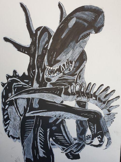 Xenomorph Ink Painting