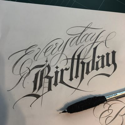 Everyday is ur birthday😘 yeah I hope. #crystal #🇰🇷 #blacklettering #script #blackletters #calligraphy #customlettering #edgy #letteringtattoo #customtattoo #inked #hiphop #scripttattoo #lyrics #lettering #letras #dailysketch #freehandtattoo #handdrawing #calligraphytattoo #calligrafy #blackcalligraphy #치카노레터링 #커스텀레터링 #치카노타투
