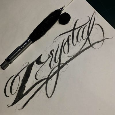 """""""Crystal"""" My name. #crystal #🇰🇷 #blacklettering #script #blackletters #calligraphy #customlettering #edgy #letteringtattoo #customtattoo #inked #hiphop #scripttattoo #lyrics #lettering #letras #dailysketch #freehandtattoo #handdrawing #calligraphytattoo #calligrafy #blackcalligraphy #치카노레터링 #커스텀레터링 #치카노타투"""