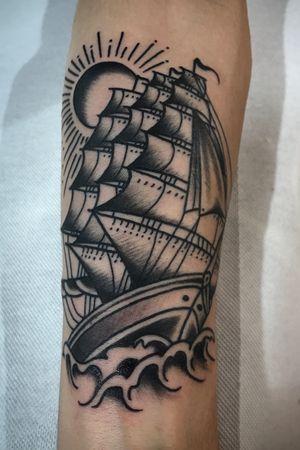 Oldschool ship #blackandgrey #oldschool #traditional