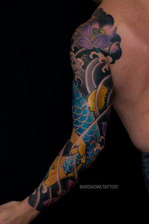 Japanese tattoo NYC. Japanese sleeve. Japanese tattoo Koi. Lotus japanese tattoo.