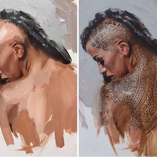 Tattoo painting by Chris Guest #ChrisGuest #painting #tattoopainting #tattooidea #tattoomodel #oilpaint #tattooart