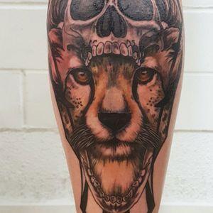 Dark Art, Geometric Cheetah skull Realistic Illustration Tattoo