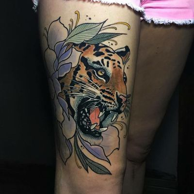 Leopard tattoo by Victoria Benea #VictoriaBenea #tattooartist #besttattoos #awesometattoos #tattoosformen #tattoosforwomen #tattooidea #leopard #junglecat #flower #floral #leaves #neotraditional #color