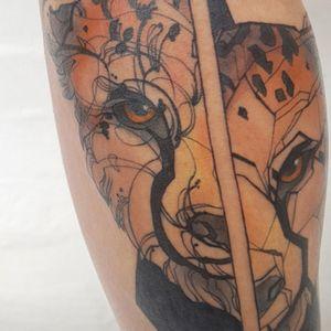 Geometric Linework Cheetah Blackwork Tattoo