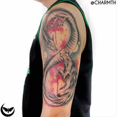 Infinite #charmth #mothandmachines #wolf #infinity #dragon #illustrative #blackandred #blackandredtattoo #ladytattooer #personaldesign #tattoooftheday #tattooinspo #blood #welove #Tattoodo #portfolio #colored #drawing #clean #arm