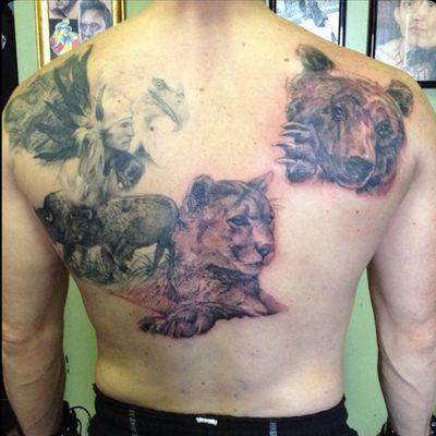 In progress. #backpiece #realistictattoo #puma #bear #blackandgrey #realism #realistic #revy #animals #wild #borntobewild