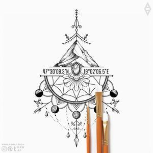 """Dotwork sternum tattoo with mandala pattern and Moon phases! Part of """"The Wanderer's"""" design collection, download all the 134 designs in one pack here: www.rawaf.shop/tattoo/collections #dotwork #geometric #mandala #sternum #moon #blackwork"""