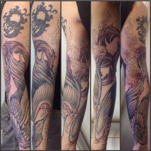 #phoenix #fenice #inflames #blackandgrey #arm #tattooedarm #tattoo #decoration #rebirth #ashes #revy #illistration #fantasy