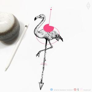 Flowy flamingo! New designs every week, follow my Instagram and you'll never miss them. @the_rawflow #flamingo #dotwork #geometric #animal #bird #color #simple #minimalist