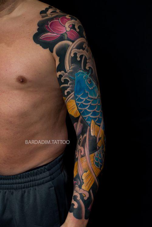 Japanese tattoo NYC. Male Japanese tattoo. Full sleeve. Japanese sleeve. Koi Japanese tattoo.