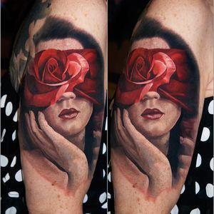 Done at #inkdays #zurich #portrait #roses #blindfoldedlady