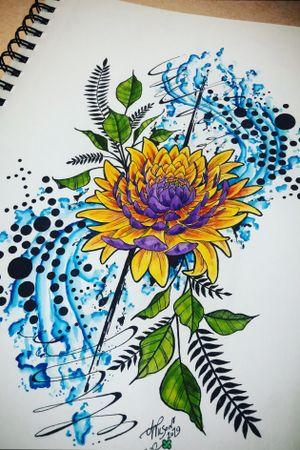 Chrisanthemum flower! #abstract #watercolor #staugustinetattooartist