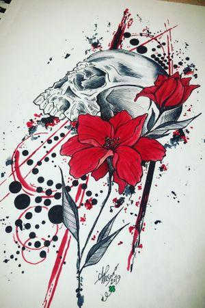 Abstract Skull #abstract #trashpolka #floral #watercolor #staugustinetattooartist
