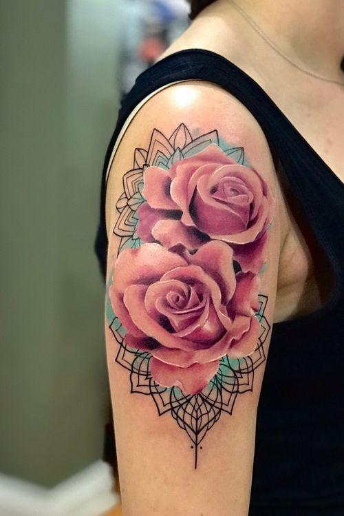 #flower #fullcolor #mandala #TattooGirl