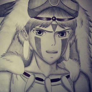 Princess Mononoke from Studio Ghibli Artist: Dounia Rhaiti