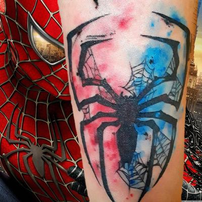 @breathingcanvas #livoniatattooshops #detroittattooartist #livoniatattoo #detroittattooshop #livoniatattoos #spiderman #spidermantattoo #watercolor #watercolortattoo #spidertattoo
