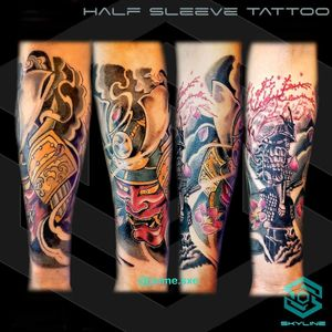 "[HALF SLEEVE TATTOO] Composicón propia ""Samurai & Kabuto"" Estilo tradicional japones / mixto Full color Diseño personalizado 2 sesiones Artista: FB/INSTA: @jaime.sxe #SkylineStudio #Tattoo #CreateYourself"