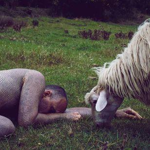 Alfredo Meschi wears his beliefs on his skin #vegan #veganink #animals #veganism #political #AlfredoMeschi #crosstattoos #xtattoos #blackwork #linework #bodysuit
