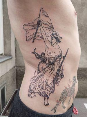 #liberty for konstantin after delacroix. #blackwork #linework #contemporarytattoos #avantgardetattoo #tattoovienna #tattoowien