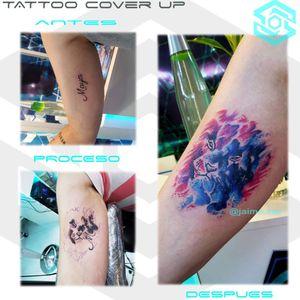 """[TATTOO COVER UP] """"León galáctico sobre nombre"""" Estilo Galáctico Full color. Diseño propio personalizado. Una Sesión. Artista: FB/INSTA: @jaime.sxe #SkylineStudio #TattooDesign #CreateYourself"""