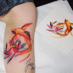Fish tattoo by Sasha Unisex #SashaUnisex #fishtattoo #fishtattoos #fish #seacreature #oceanlife #animal #ocean #water #pisces #nature #betafish #lotus #flower #floral #watercolor #color