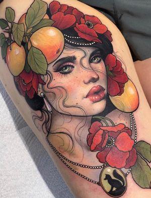 Portrait tattoo by Hannah Flowers #HannahFlowers #portrait #lady #apple #nature #fox #neotraditional #pearls #beautiful #ornamental