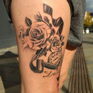 """La vie est belle"" (October '17) ▪ Made roses, watches and photo film and updated the inscription. ▪ #тату #розы #trigram #tattoo #roses #inkedsense #tattooist #кольщик"