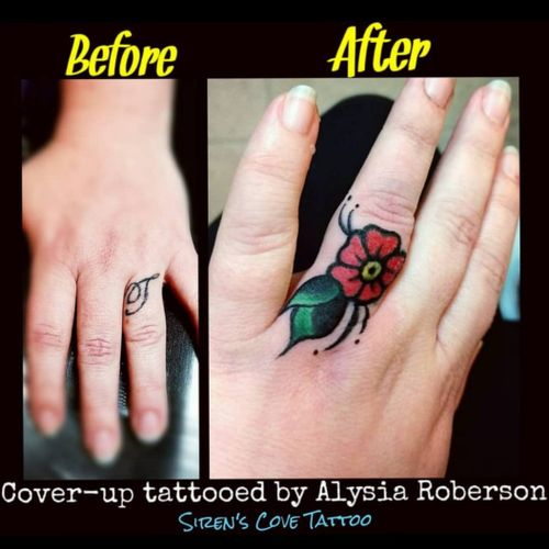 Cover-up tattooed by Alysia Roberson at Siren's Cove Tattoo in Piedmont, SC!! #coveruptattoo #coverup #tattoonightmares #newchapter #oldschooltattoo #oldschooltattoos #traditionaltattoo #flowertattoo #fingertattoo #nametattoo #weddingbandtattoo #traditional #fingertattoos #sc #sctattoo #sctattooartist #sctattooshop #girlytattoo #sctattooist #sctattooer #southcarolinatattooartist #greenvillesc #downtowngreenville #smalltattoos #greenvillefashionweek #greenvillefashion #Alysiarobersontattoo #sirenscovetattoo www.facebook.com/sirenscovetattoo www.facebook.com/Alysia.Roberson.Tattoo.Artist Instagram: @sirens_cove_tattoo