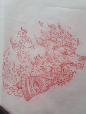 Big, crazy, flaming, neo-trad wolf available!