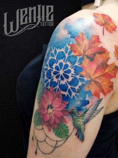 """4 Estaciones"" . . . . . . . #flowers #fourseasons #Hummingbird #colors #watercolors #stains #summer #winter #autumn #spring #tattoo #tattooenvigado"