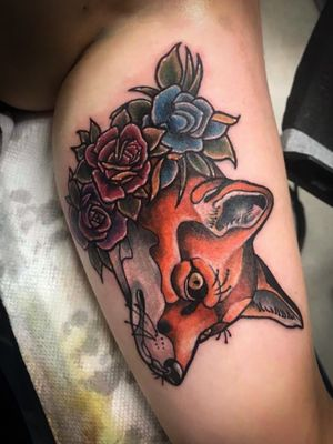 #fox #foxtattoo #tattoodo #neotraditional #fun #cute #cool #crange #roses #rose #innerbicep