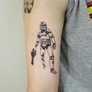 Star Wars tattoo by 92 Noise #92Noise #StarWarstattoos #StarWarstattoo #StarWars #GeorgeLucas #movietattoo #filmtattoo #space #galaxy #scifi