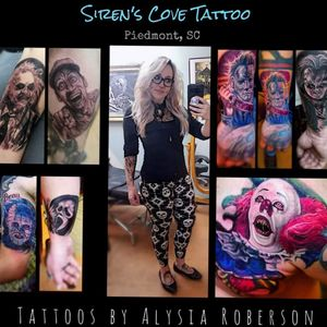 Tattoos by one of South Carolina 's best female tattoo artists, Alysia Roberson, at Siren's Cove Tattoo in Piedmont, SC (near Greenville, SC!)!!! Call or come by SC Tattoo for an appointment, thanks!!! #tattoos #tattooed #tattooedwomen #tattooedwoman #inkedgirls #inkedgirl #inkedfemales #girlytattoo #beautifultattoo #colortattoo #blackandgreytattoo #blackandgrey #tattooartist #femaletattooartist #femaleartist #ladytattooer #ladytattooers #ladytattooist #femaletattooist #femaletattooer #siren #sirenscove #tattoosiren #sirentattoo #mermaid #mermaidtattoo #alternativegirl #piercings #dimplepiercing #septumpiercing #blonde #glasses #alternative #tattooist #tattooer #tattooers #coveruptattoo #coverup #tattoonightmares #portraittattoo #animaltattoo #animalportrait #realism #realistic #horrortattoo #horror #horrorart #HorrorTattoos #michaelmyerstattoo #Pennywise #pennywisetattoo #ghostface #scream #screamtattoo #ghostfacetattoo #ernest #jimvarney #ernesttattoo #jimvarneytattoo #childsplay #inkmaster #inkedmagazine #childsplaytattoo #chucky #chuckytattoo #pinhead #pinheadtattoo #hellraiser #hellraisertattoo #beetlejuice #beetlejuiceart #beetlejuicebeetlejuicebeetlejuice #beetlejuicetattoo #michaelmyers #halloween #halloweentattoo #oldschooltattoo #traditionaltattoo #sc #sctattoo #sctattooartist #sctattooshop #sctattooist #sctattooer #southcarolinatattooartist #greenvillesc #downtowngreenville #andersonsc #clemsonsc #yeahthatgreenville #clemson #clemsontattoo #clemsontigers #Alysiarobersontattoo #sirenscovetattoo www.facebook.com/sirenscovetattoo www.facebook.com/Alysia.Roberson.Tattoo.Artist Instagram:@sirens_cove_tattoo