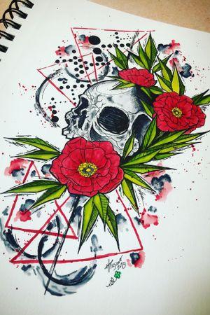Skull and Poppies #skullart #abstract #watercolor #poppies #staugustinetattooartist