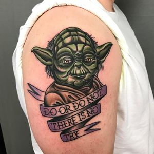 Star Wars tattoo by Shawn Patton #ShawnPatton #StarWarstattoos #StarWarstattoo #StarWars #GeorgeLucas #movietattoo #filmtattoo #space #galaxy #scifi #yoda