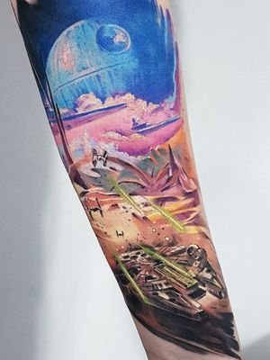 Star Wars tattoo by Molina Tattoo #MolinaTattoo #StarWarstattoos #StarWarstattoo #StarWars #GeorgeLucas #movietattoo #filmtattoo #space #galaxy #scifi