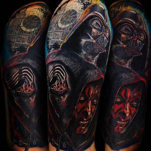 Star Wars tattoo by Ricado Van't Hof #RicardoVantHof #StarWarstattoos #StarWarstattoo #StarWars #GeorgeLucas #movietattoo #filmtattoo #space #galaxy #scifi