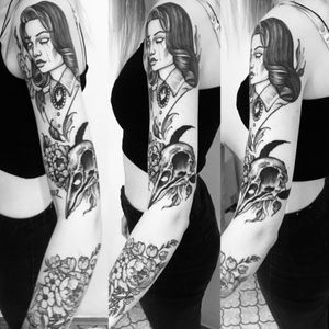 Instagram: kyaraclarice #blackandgrey #skull #bioshock #moon #flowers #dotwork #blackwork #girl #tattoo #leaf #nature #crow #tumblr #alternative #aesthetic #cute #me #donniedarko