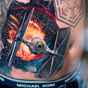 Star Wars tattoo by Luka Lajoie #LukaLajoie #StarWarstattoos #StarWarstattoo #StarWars #GeorgeLucas #movietattoo #filmtattoo #space #galaxy #scifi
