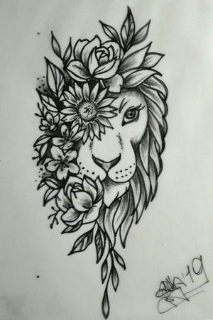 #sketch #drawing #myartmylife #myart #lion #flowers