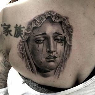 Virgin Mary tattoo by Freddy Negrete #FreddyNegrete #Chicanotattoos #chicanotattoo #chicanx #chicano #chicana #CincodeMayo #Mexican #Mexico #tattooinspiration #besttattoos