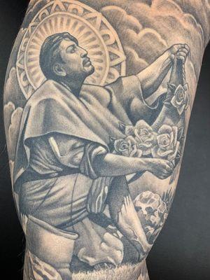 Saint Juan Diego tattoo by Chuey Quintanar #ChueyQuintanar #Chicanotattoos #chicanotattoo #chicanx #chicano #chicana #CincodeMayo #Mexican #Mexico #tattooinspiration #besttattoos